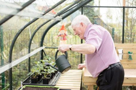 Resident gardening at La Fontana