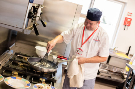 Chef cooking in the kitchen at Casa di Lusso Care Home Bridgwater Somerset