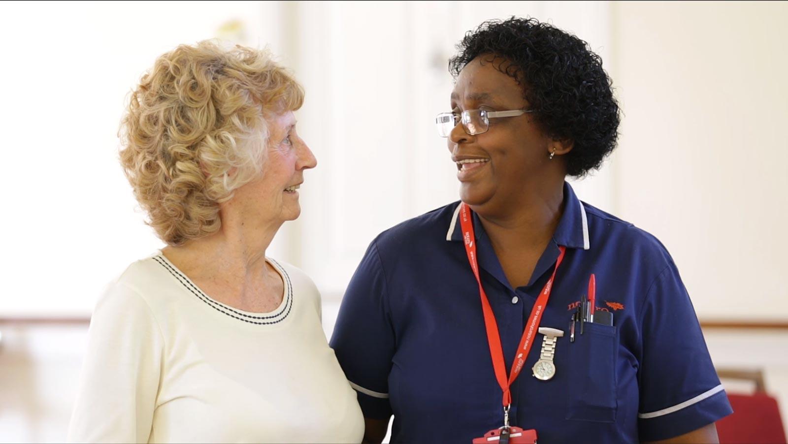 La Fontana Dementia Nursing home Nurse with resident, care home Martock