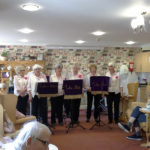 Singing to residents, relatives and staff at Immacolata house