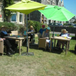 Residents enjoying lunch outside watching the Air Show