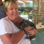 Resident's relative, Louise with a rabbit