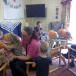 Little Pips children with supervisor, Lorainne Gill and residents getting creative