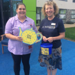 Terena, fundraiser from St Margaret's Hospice with Melissa, Care Assistant