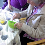 Resident mixing icing colours
