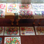 Resident's finished colourful firework paintings