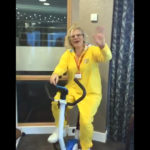 Louise, activities coordinator on the exercise bike for children in need 2017