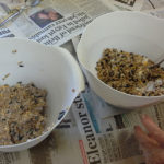 bowls of mixed bird feeder ingredients