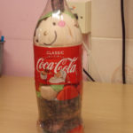 Elf stuffed in a Coca cola bottle