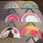 Resident's finished paper plate fans