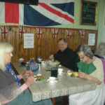 Residents enjoying lunch in the 1940s tearoom