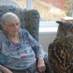 Aspen Court resident with Ginsberg the European Eagle Owl