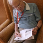 Resident reading a War time Poem