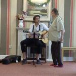 Resident dancing along to Joe Ferdinand's live music