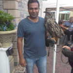 Holding an owl at Immacolata House