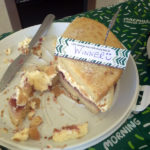 Immacolata house Care home domestic assistant, Ben's winning victoria sponge cake for Macmillan coffee morning