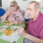 La Fontana Dementia Nursing Home residents enjoying fish & chips in Weymouth