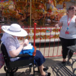La Fontana Dementia Nursing Home residents enjoying an Ice cream in the sunshine at Weymouth