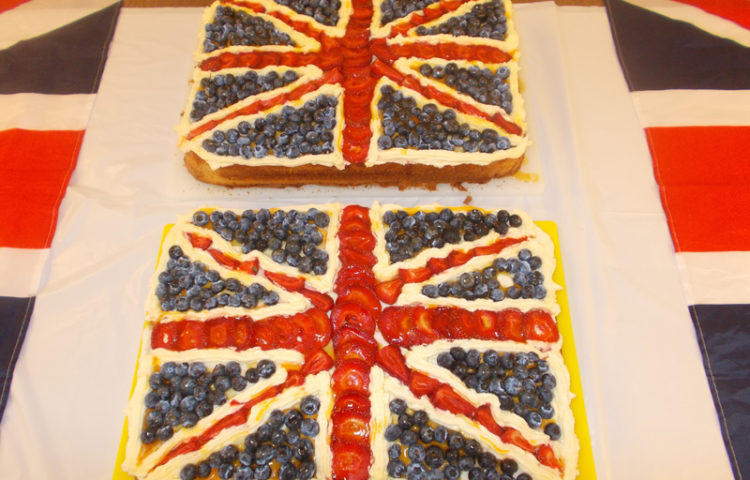 Home made British Flag fruit cakes at La Fontana Dementia Care Homes Party in the garden - July Activities