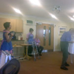 Immacolata House care home resident dancing to live entertainment from Flashback Theatre