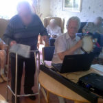 Immacolata House care home resident dancing and singing along with Karaoke with Chris