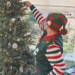 The Limes Unit's Elf putting decorations on the tree